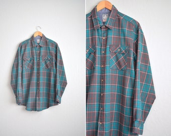 vintage men's '80s teal & grey PLAID FLANNEL. size xl 2xl (TALL).