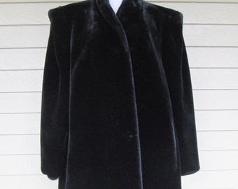 Lovely Black Faux Fur Coat