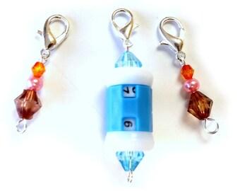Zipper Pull  - Stitch Markers - Set of 3 - Hedgehog Toss