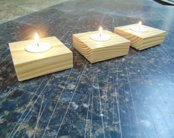 Tea Light Candle Holder: Set of Three - Wood Candle Holder - Square Candle Holder - Reclaimed Wood