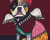 Cross Stitch Kit 'French Bulldog Angel' By Heather Galler