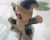 Vintage Clown * Tiny Porcelain Clown * Small Friendly Glass Clown *