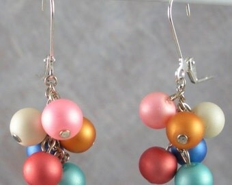 ON SALE 20% OFF Frosted Glass Beads Dangle on Chain earrings - summer earrings
