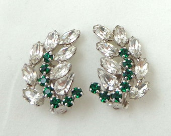 B David Earrings Rhinestone Emerald Clip Back Silver Signed Leaf Green 796