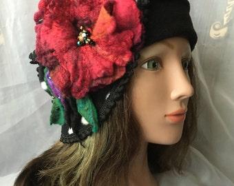 Kids girls Fleece headband black red poppy flower felted flower merino wool ,  black head band