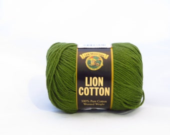 Lion Cotton Yarn, Evergreen Green Worsted Weight Cotton, Discontinued Yarn, Dish Cloth Cotton, Olive Green