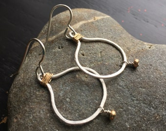 Handmade fine silver drop earrings with gold accent wire and beads