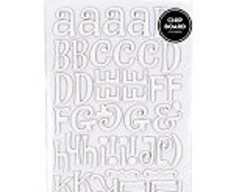 """American Crafts Thickers chipboard alphabet stickers- """"Jewelry Box White"""""""