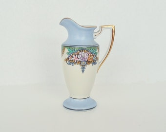 Tall Art Deco Noritake Creamer In Blue, Green and Cream w/ Pink Flowers
