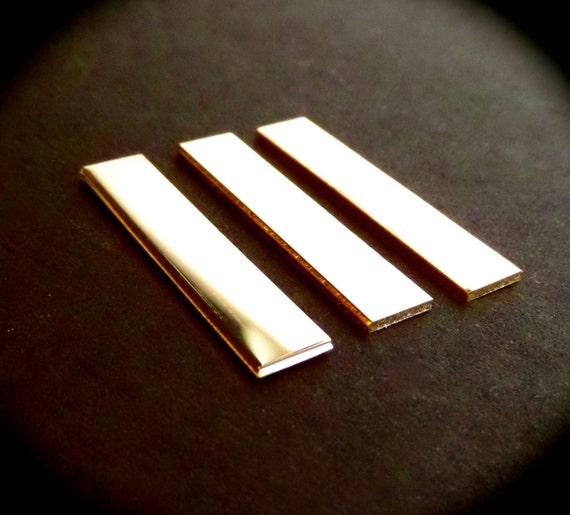 "3 BLANKS 1/4"" x 1-1/2"" Sterling 18 Gauge Polished Rectangles Made in USA"
