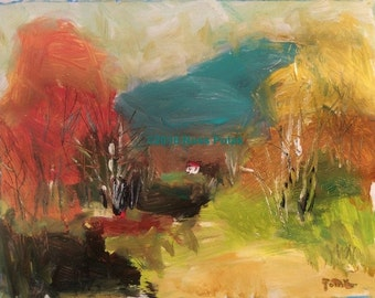 Fall Preview acryle hand painted medium size home decor impressionist fall landscape abstract painting by Russ Potak artist