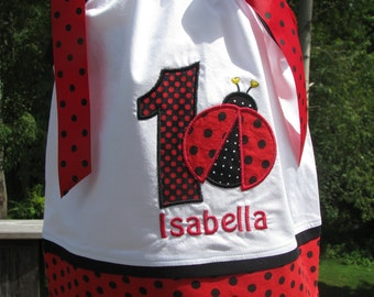 Ladybug Birthday Pillowcase Dress, 1st birthday party dress, 2nd birthday ladybug dress,red ladybug party dress  name and number included