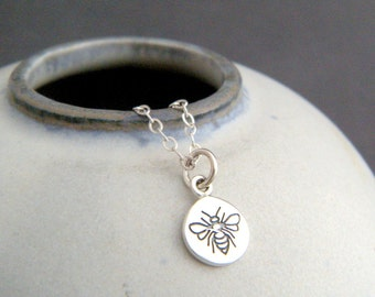 tiny honey bee circle necklace. sterling silver honeybee pendant animal spirit totem small simple delicate everyday jewelry good luck charm