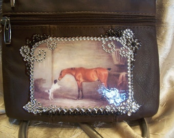 Brown Leather Crossbody Purse with a Vintage Horse Scene and Rhinestones