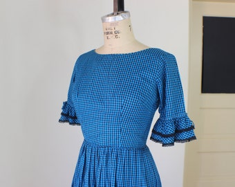 Blue Gingham Picnic Dress / 1950's Vintage Full Skirt Dress / Flounce Sleeve Country Frock