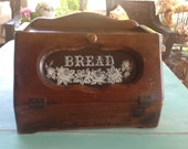 Vintage Wood Bread Box Glass Door c1984 Country Charm