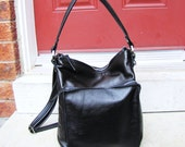 Two toned black & brown slouchy leather shoulder purse messenger bag with large front zip pocket