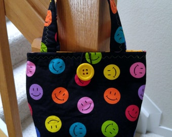 Little Girls Purse, Mini Tote Bag, Purse for little girl, Little Girl Gift, Happy Smiley Face Purse, Little Girl Easter Purse