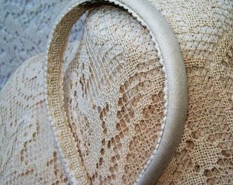 Ivory Linen headband narrow