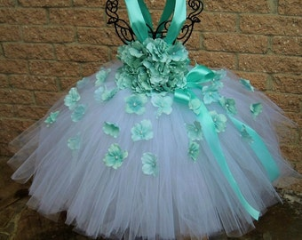 WHITE AQUA FLOWERS. Tutu Dress.  Pageant Wear. Flower Girl Gown. First Birthday Outfit.  Photo Shoot Prop. Baby Girls' Clothing.