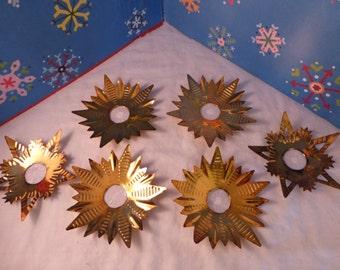 6 Gorgeous Bronze Color Metal Star Tin Reflectors