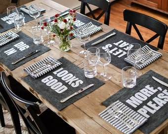 Graphite Linen Placemats - 12 phrases to choose from