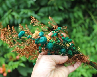 Brazilian Hill flowers-Small bunch of assorted Dried flowers-Teal-Greens-Ivory-Caspia-Wedding flowers