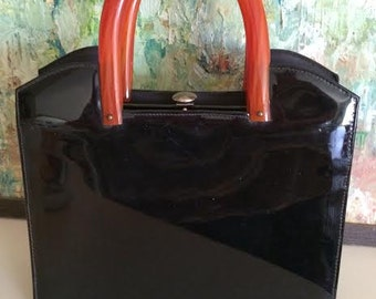 Vintage Mid Century Black Patent Leather with Orange Bakelite Handles Black Moire Black Satin Curated by BeckyPaints