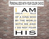 I Am His Daughter Of A King, Nursery Wall Art, Christian Wall Art,Children's Room Decor,DOWNLOAD Printable Art,Christening Gift,Bapt