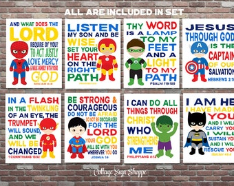 Superhero Scripture Art,Superhero Wall Art,Scripture Superhero Art,DIGITAL, YOU PRINT, Boys Superhero Scripture Art,Superhero Scripture