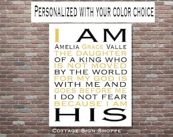 I Am His Daughter Of A King, Nursery Wall Art, Christian Wall Art,Children's Room Decor,DOWNLOAD Printable Art,Christening Gift,Bapt