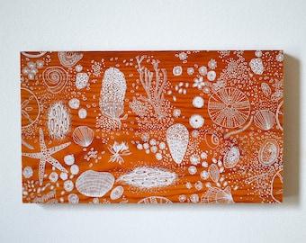 Screen print of Sea Life onto Reclaimed, Repurposed Wood; ready to hang; screen print of starfish, seaweed, sea shells, nautical