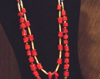 Red Coral and Silver Bead Double-Strand Necklace