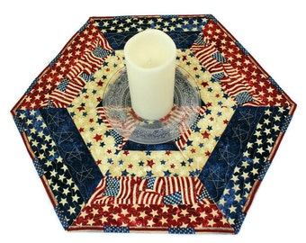 Hexagon Patriotic Table Runner Quilt or Candle Mat, Red White and Blue Country Table Topper, 4th of July, Quiltsy Handmade