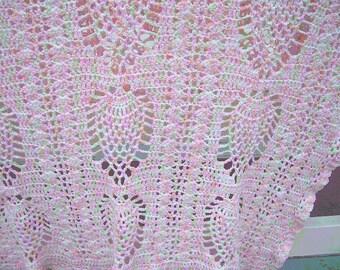 Crochet Pink Pineapple Baby Blanket