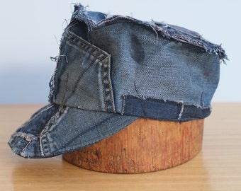 Men's Cap. Handmade Combat Cap from Reclaimed Denim Jeans. Only one. Size LARGE. Men's denim cap, hat. Reclaimed, sustainable cap.