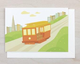 Cable Car Greeting Card - San Francisco, Birthday, California, Tram, Blank, Gift, Holiday, Card