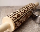 Embossing rolling pin, Ethnic primitive design, Cookies decorating rolling pin