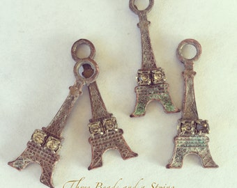 Eiffel Tower with Patina and Rhinestone Charms