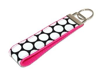 Polka Dots Wrist Keychain - Black and White Polka Dot fabric on Pink Key Fob - Wristlet - Bag Tag