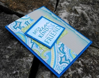 Elegant Blue Paisley Card for Your Dear Kind and Wonderful Friend
