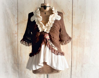 Mori Girl Clothing Crochet Boho Shrug Ruffle Collar Brown Shabby Sweater Country Clothing Bohemian Women's Top Lacy Lace Cardigan M/L JESSA