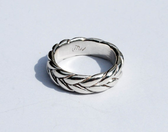 Extra Wide-Thick Sterling Silver Braid Ring