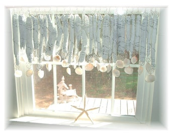 Romantic Beachy Whitewashed NUMBER TWO  Driftwood   Window Treatment Valance Curtain