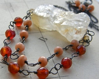 20% Off Rough Cut Citrine Nugget and Carnelian Statement Necklace, Stone Pendant Boho Jewelry, Bold Necklace