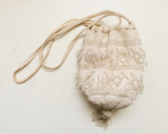 1920s reticule / crochet purse / Antique Wedding purse