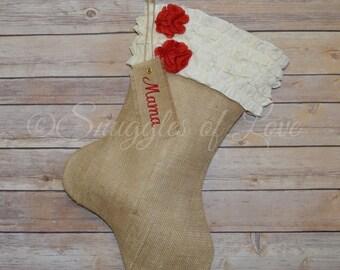 Cream Ruffle Burlap Stocking - Personalized Burlap Christmas Stocking - Girly Ruffled Stocking, Shabby Chic Stocking, Burlap Ruffle Stocking