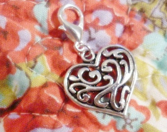 Ornate Silver Heart Charm Clip, Antique Silver Heart Charm