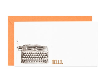 Vintage Typewriter Hello Enclosure Gift Card