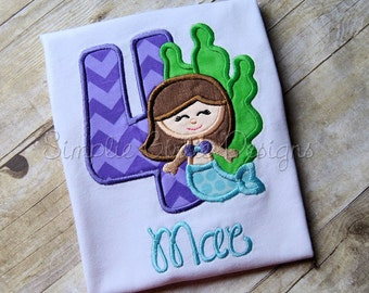 Custom mermaid birthday shirt Personalized. Sizes 12m to girl's XL. Can change colors and/or fabrics to suit.